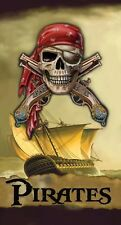 Pirate Ship Jolly Rogers Musket Sailboat Kids Bath Pool Beach Towel 30x60