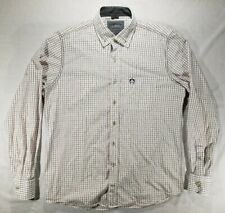 Campione Mens White Red Cross Striped Button Down Long Sleeve Dress Shirt Size M