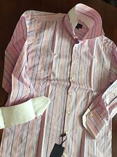 EREDI PISANO THE DOUBLE BUTTON COLLAR STRIPED / PINK SHIRT ( 16 41 ) $ 275
