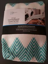 New Deluxe Ironing Board Cover & Pad Mainstays Teal Chevron~ Standard Size Board
