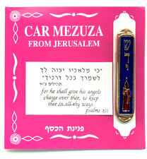 JUDAICA - GOLD PLATED BLUE AND RED ENAMEL CANDLE AND SHEDI CAR MEZUZAH