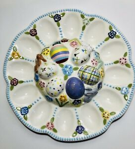 Ceramic Easter Deviled Egg Serving Plate Platter 12 Eggs Spring Flowers Bunny