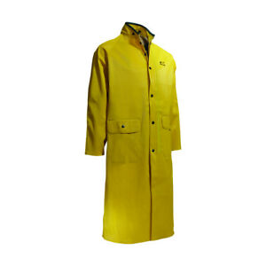 "Onguard Yellow 48"" Rain/Splash Coat Heavy Duty Polyester/PVC Long Coat 2X-Large"