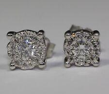 14k White Gold White Round Diamond Single Halo Stud Earrings Butterfly Backing