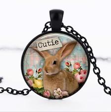 Bunny Rabbit Cutie Black Glass Cabochon Necklace chain Pendant Wholesale
