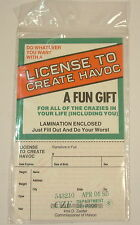 Vintage Novelty License To Create Havoc joke april fool party birthday gift