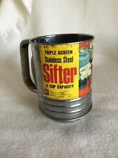 New listing Kitchen King 3 Cup Polished Stainless Steel Triple Screen Flour Sifter w/ Label