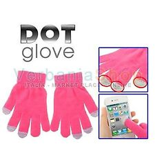 DOT GLOVES GUANTI CAPACITIVI TOUCH SCREEN IPHONE 4 4S 5 IPAD SAMSUNG GALAXY PINK