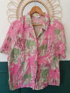 Vintage 80s Pink 100% Cotton Hawaiian Shirt Summer Tropical Oversized Blouse 10