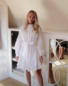 KAREN MILLEN White Cotton Cut Out Poplin UK 8 Shirt Belt Dress Zimmermann Style