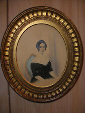 Antique 18th American or English school young woman portrait painting watercolor