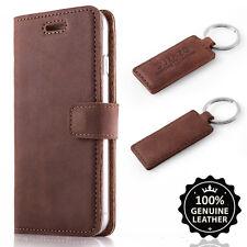 Premium Echtes Ledertasche Schutzhülle TPU Wallet Flip Case Nubuk - Farbe Nuss