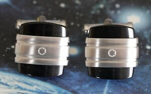 MONTBLANC SQUARE CUFFLINKS IN BRUSHED STAINLESS STEEL WITH NATURAL BLACK ONYX