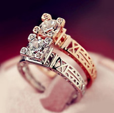 Micro-inlay CZ The Eiffel Tower 925 Sterling Silver/Gold Engagement Wedding Ring