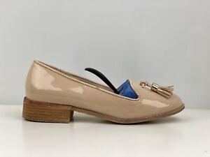 Kurt Geiger Womens Beige Faux Patent Leather Tassel Loafers UK Size 5