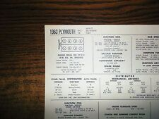 1963 Plymouth Savoy Belvedere Fury 318 Ci V8 Sun Tune Up Chart Great Condition!