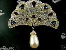 SIGNED SWAROVSKI CRYSTAL PAVE' PEARL FAN PIN ~ BROOCH NEW RETIRED RARE NEW