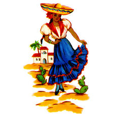Sweet Senorita Pretty Mexican Lady Water-Slide Decals