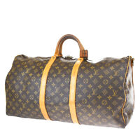 AUTH LOUIS VUITTON KEEPALL 55 HAND BAG BANDOULIERE MONOGRAM BROWN M41414 87BQ584