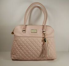 Large Betsy Johnson Blush Pink Quilted Leather Purse With Gold Accents & Charm