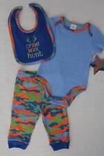 NEW Baby Boys 3 pc Outfit 3 - 6 Mos Bodysuit Pants Bib Set Blue Camouflage Hunt
