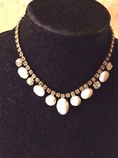 "Vintage Rhinestone And Milk Glass Necklace  15 1/2 "" L"