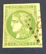France N° 42Ba 5 C Vert Jaune Fonce Obli TTB Signe Calves Cote 300€