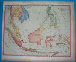 1856 RARE ORIGINAL MAP EAST INDIES PHILIPPINES THAILAND MALAYSIA INDONESIA SIAM