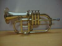 New-Bb-4-Valve-Flugel-Horn-BRASS FINISH--Free-HARD-Case-M-P