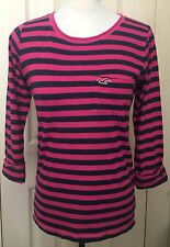 Hollister Women Pink and Navy Striped 3/4 Sleeve Blouse Shirt Top XS