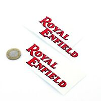 Royal Enfield Sticker Decal Vinyl Motorbike STICKERS 100mm x2 Red & Black