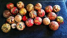 Huge Lot Old Vintage Christmas Paper Mache Ball Round Ornaments & Satin