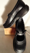 Dansko Black Leather, Button Strap, Mary Janes/Clogs, Womens 37/6.5-7