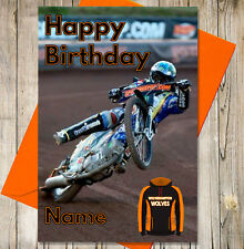 Personalised Speedway Birthday Card - Wolverhampton Wolves - Any NAME & AGE