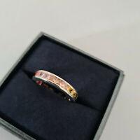 Stunning Austrian Topaz crystal eternity ring in Sterling Silver