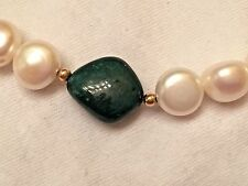 "Genuine Opaque Emerald and White Pearl Necklace, 20""length, 14K Yellow Gold"