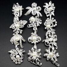 12pc/lot Mixed Mini Silver Pearl Crystal Brooches Pin DIY Wedding Bridal Bouquet