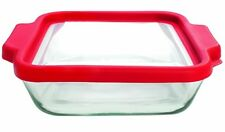 Anchor Hocking 8-Inch Square Glass Baking Dish with Cherry TrueFit Lid New*