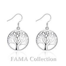 Beautiful FAMA Silver Plated Tree of Life Dangle Earrings