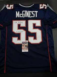 Willie Mcginest New England Patriots Autographed INSCIB Custom Jersey W=Coa JSA*