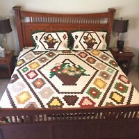 Flower Basket Quilt King Size Hand Pieced Hexagon Hand Quilted Pillow Case Vtg