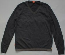 Hugo Boss Virgin Wool V Neck Jumper - Medium Size M - Dark Grey - Mens - Sweater