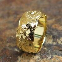Hawaiian Yellow Gold Silver 925 Scroll Cutout Edge Wedding Ring Band 8mm SR1715