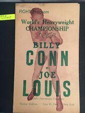 Joe louis v billy conn 19/6/46 score card program
