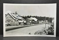 Vintage Government Camp Oregon Mt Hood Ski Town RPPC Postcard Old Cars Buildings
