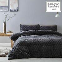 Catherine Lansfield Soft Touch Diamond Fur Fleece Duvet Cover Bedding Set Grey