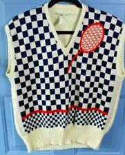 Vintage Nik Nik Sweater Vest Men's Large Tennis Checker Board Design RARE Unique