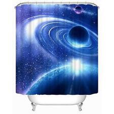 Planet Stelle Sistema solare colore Blu Bagno Ganci Tenda della doccia in poliestere