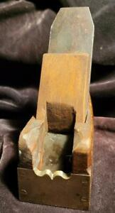 A Most Rare Small Wooden Sheffield Bullnose Plane with Brass Nose plate