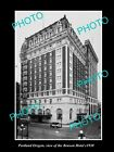 OLD LARGE HISTORIC PHOTO OF PORTLAND OREGON, VIEW OF THE BENSON HOTEL c1930